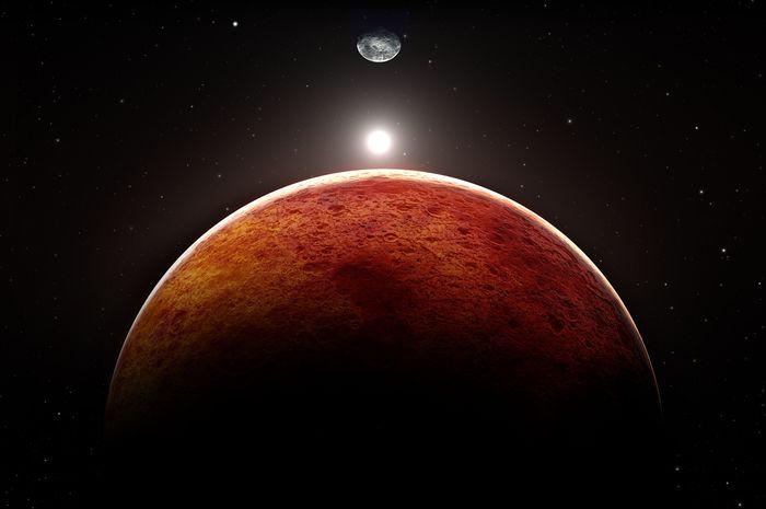 Ilustrasi planet Mars dengan Bulan dan Bumi sebagai latar belakang.